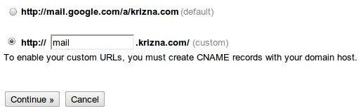 Setup google apps cname