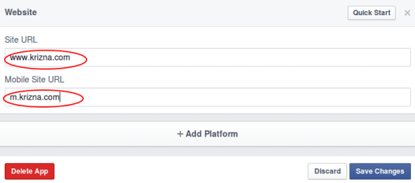 Login with facebook site name