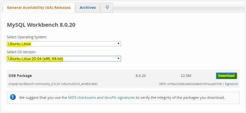 MySQL workbench install ubuntu 20.04